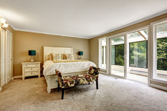 Master bedroom in American style with white Double bed Stock Photo