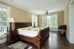 Master bedroom with back yard view Royalty Free Stock Image