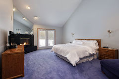 Master bedroom with black fireplace Stock Photos