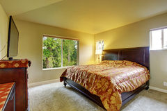 Master bedroom with carpet. Royalty Free Stock Photo