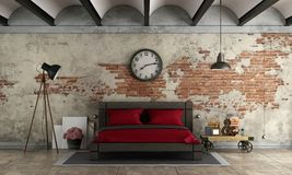 Master bedroom in industrial style Stock Photos