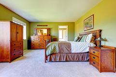Master bedroom interior in bright green color Stock Photography
