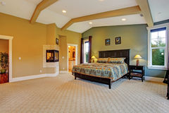 Master bedroom interior in luxury house Royalty Free Stock Photo