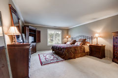 Master bedroom interior with vintage furniture set Royalty Free Stock Images