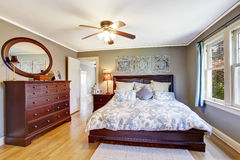 Master bedroom interior with walk-in closet Stock Images