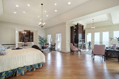 Master bedroom in luxury home Stock Photos