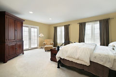 Master bedroom in luxury home Royalty Free Stock Image
