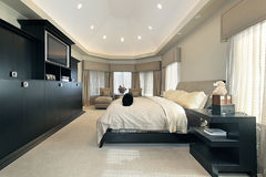 Master bedroom in luxury home Stock Photography