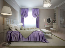 Master bedroom neoclassical style. With bright violet decoration. (Purple). 3D render Royalty Free Stock Photography