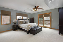 Master bedroom with outside deck Stock Photo