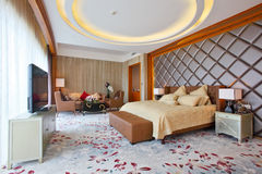Master bedroom. The master bedroom of the presidential suite in a Five-star hotel at the day time royalty free stock photo