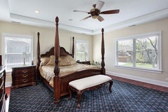 Master bedroom with recessed ceiling Royalty Free Stock Photography