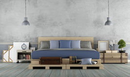 Master bedroom in rustic style Royalty Free Stock Photography