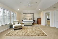 Master bedroom with tray ceiling Stock Photos