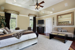 Master bedroom with tray ceiling Stock Photography