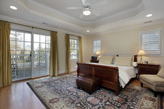 Master bedroom with tray ceiling Stock Images