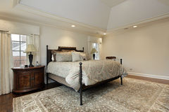 Master bedroom with tray ceiling Stock Photo