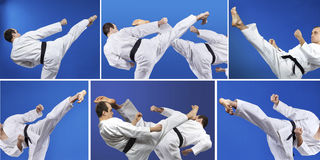 Master with a black belt beats kicking collage Royalty Free Stock Photo