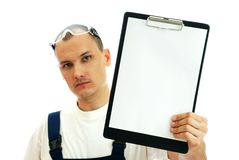 The master with blank. The master holds in hands pure blank Royalty Free Stock Image