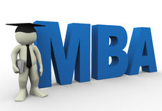Master of business administration. 3d render of man with word mba Stock Image