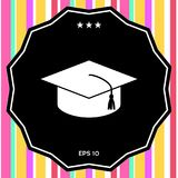 Master cap for graduates, square academic cap, graduation cap icon. Signs and symbols - graphic elements for your design Royalty Free Stock Photo