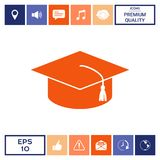 Master cap for graduates, square academic cap, graduation cap icon. Signs and symbols - graphic elements for your design Stock Image