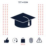 Master cap for graduates, square academic cap, graduation cap icon. Signs and symbols - graphic elements for your design Stock Images