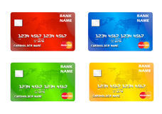 Master Cards. Collection of Master cards red, blue, green and yellow Stock Photo