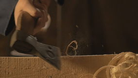 Master carpenter makes basting on the Board with a pencil, draws, craftsman work tool in the workshop. stock video footage