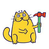 Master cat holds a hammer. vector illustration. stock photography