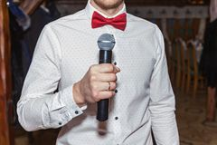 Master of ceremonies with microphone royalty free stock images