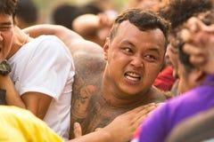 Master cerimonia di Wai Kroo dei partecipanti (Luang Por Phern) di giorno al monastero di Pra di colpo Fotografia Stock