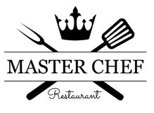 Master Chef emblem. Logo with equipment for grill vector illustration