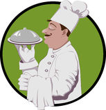 Master Chef. Vector logo of master chef with the dish Royalty Free Illustration