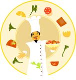 Master chef welcoming with delicious food. Illustration of a Chef with food ingredients and food bowl Stock Photography