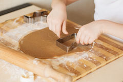 Master class for children on baking christmas cookies. Young chi Stock Image