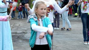 Master class for children on Fire show. Uzhgorod, Ukraine May 12, 2015: workshop for children on Fire show in Park City stock video