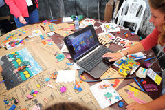Master-class of plasticine animation. MOSCOW - AUGUST 18: Master-class of plasticine animation from creative center 7bioz at festival Bright people in Gorky Park royalty free stock image