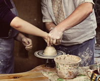 The master class of pottery art Stock Photos