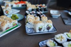 during a master class self made sushi ready to eat royalty free stock image