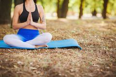Master class on yoga from a teacher in the fresh air. Blurred Background. Young girl practicing yoga in nature in a forest against a background of coniferous Royalty Free Stock Images