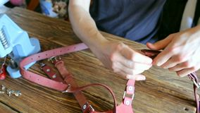 Master collects pink dual camera harness. On brown wooden table scattered with tools and accessories. stock footage