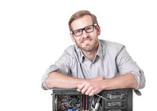 Master of computer repair. Isolated on white. Computer repair concept Royalty Free Stock Image