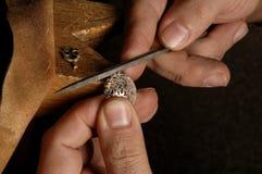 Master craftsman in jewelry design stock photos