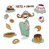 She is a master culinary, cheerful and skillful! Cookies, cakes, muffins and pies, it`s all right! royalty free illustration