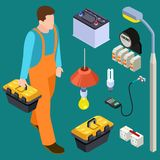 Master electrician and tools isometric vector set royalty free illustration