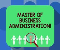 Master en administración de empresas de la escritura del texto de la escritura Finanzas de la educación del graduado de poste del stock de ilustración