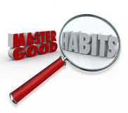 Master Good Habits Words 3d Magnifying Glass Stock Images