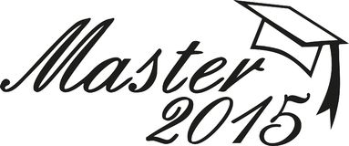 Master 2015 graduation hat. Vector Stock Photography