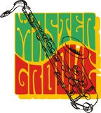 Master Groove graphic. Colorful retro graphic with the text Master Groove and an overlay of the outline of a saxophone in black, on a white background vector illustration